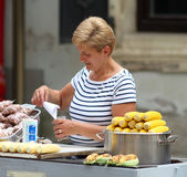 Zagreb / Boiled Corn And Peanuts Seller Royalty Free Stock Photography