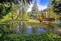 Zagreb botanical garden city oasis. Nature and lake stock image