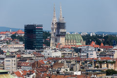 Zagreb, Capital of Croatia aerial view - colorful rooftops and c. Zagreb, Croatia - July 15, 2015: Zagreb, Capital of Croatia aerial view - colorful rooftops and Stock Photos