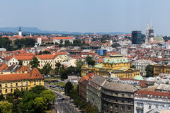 Zagreb, Capital of Croatia aerial view - colorful rooftops and c. Zagreb, Croatia - July 15, 2015: Zagreb, Capital of Croatia aerial view - colorful rooftops and Royalty Free Stock Images
