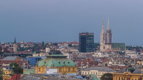 Zagreb capitol of Croatia cathedral and modern skyscraper with a old city panorama day to night timelapse stock video