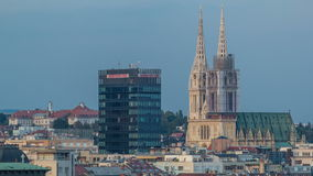 Zagreb capitol of Croatia cathedral and modern skyscraper with a old city panorama timelapse. Zagreb (capitol of Croatia) cathedral and modern skyscraper with a stock footage