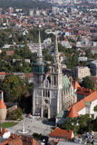 Zagreb cathedral. Aerial view of Zagreb cathedral Royalty Free Stock Images