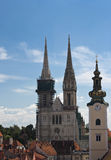 Zagreb cathedral and church tower. Stock Photo