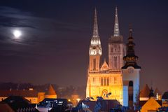 Zagreb cathedral and cityscape evening view stock images