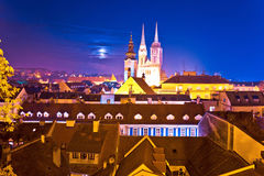 Zagreb cathedral and landmarks evening view royalty free stock photography