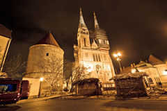 Zagreb cathedral night christmas view Royalty Free Stock Photography