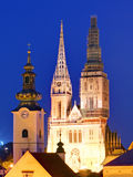 Zagreb cathedral at night Royalty Free Stock Images
