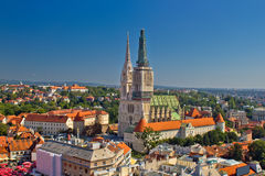 Zagreb cathedral panoramic aerial view royalty free stock photography