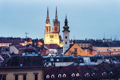 Zagreb Cathedral and St. Mary's Church in Zagreb Stock Photography