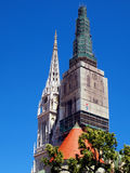 Zagreb cathedral towers Stock Image