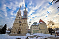 Zagreb cathedral winter daytime view Royalty Free Stock Image
