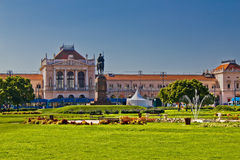 Zagreb central railway station and park Royalty Free Stock Images