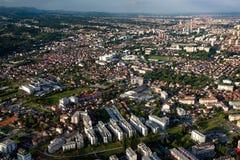 Zagreb centrum miasta od powietrza Obraz Royalty Free