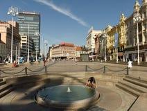 Zagreb Chorwacja, Sierpień, - 2017: Zakazu Jelacic kwadrat w Zagreb, Cro obrazy royalty free
