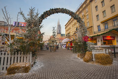 Zagreb Christmas. Decorated Jelacic square in Christmas time, Zagreb city royalty free stock photography