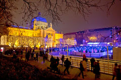 Zagreb christmas ice park evening view Royalty Free Stock Photography