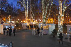 Zagreb Christmas. Illuminated park Zrinjevac at Christmas in Zagreb royalty free stock images