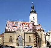 Zagreb church 2. Old Saint Marco church in Upper Town, Zagreb, Croatia Stock Photos