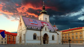 Zagreb church - St Mark, Croatia Time lapse video at sunset stock footage