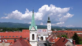 Zagreb Church St Mark Time lapse stock video