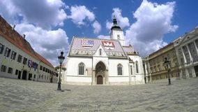 Zagreb, Church St Mark, Time lapse video stock video footage