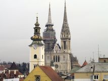 Zagreb churches. Old churches and cathedarl in croatian capital city of Zagreb Stock Photography