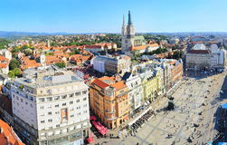 Zagreb city center. View from above of Ban Jelacic Square in Zagreb , Croatia Royalty Free Stock Images