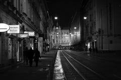 Zagreb city centre street. Croatiafulloflife myproshot bnw zagreb croatia #whataboutcroatia explorer city night after rain architecture building culture center Royalty Free Stock Image
