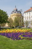 Zagreb: city park. Park in downtown Zagreb full of colorful flowers Royalty Free Stock Photo