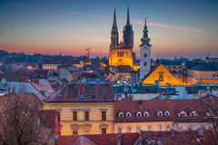 Zagreb. Cityscape image of Zagreb, Croatia during twilight blue hour Stock Images