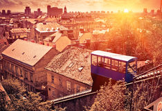 Zagreb cityscape at sunset. With Uspinyacha cable car, famous touristic attraction. High-angle view Stock Photography