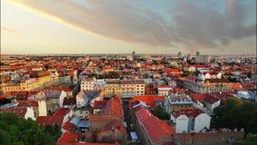 Zagreb-cityspace bei Sonnenuntergang - Zeitspanne stock footage