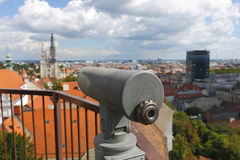 Zagreb cityspace. Zagreb city with binocular in front.Focus on binocular Stock Photos