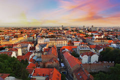 Zagreb cityspace. At colorful sunset stock images
