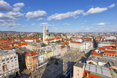 Zagreb cityspace. Zagreb skyline. Jelacic square and Cathedral on the back royalty free stock photos
