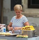 Zagreb / Corn And Peanuts Seller Stock Image