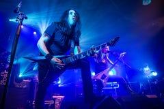 Zagreb, CROACIA - centro comercial 23, 2017: Niños de Bodom, concierto en T Fotografía de archivo