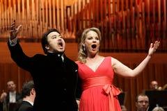 Elina Garanca llevó a cabo un concierto en la sala de conciertos Lisinski. Fotografía de archivo libre de regalías