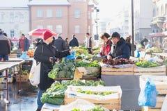 Zagreb, Croacia: 7 de enero de 2016: Verduras de compra del cliente femenino en el mercado de Dolac durante invierno con nieve foto de archivo
