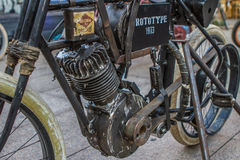 ZAGREB, CROATIA – November 14. 2016: detail of Harley prototype. Discovery canal presentation of TV show Harley and the Davidsons with retro and historic motor Royalty Free Stock Images
