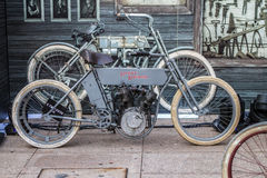 ZAGREB, CROATIA – November 14. 2016: detail of Harley prototype. Discovery channel presentation of TV show Harley and the Davidsons with retro and historic Royalty Free Stock Photography
