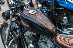 ZAGREB, CROATIA – November 14. 2016: Harley Davidson prototipe. Discovery channel presentation of TV show Harley and the Davidsons with retro and historic Royalty Free Stock Image