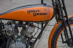 ZAGREB, CROATIA – November 14. 2016: Harley Davidson prototipe. Iscovery channel presentation of TV show Harley and the Davidsons with retro and historic motor Royalty Free Stock Images