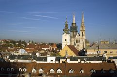 Zagreb Croatia. Zagreb view - big cathedral and church in old city center Stock Photography