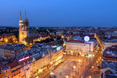 Zagreb, Croatia. Aerial view of Zagreb skyline with the Ban Jelacic Square and the city's Cathedral in Croatia Royalty Free Stock Image