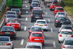 Traffic jam. ZAGREB, CROATIA - August 11th, 2018 : Big traffic jam due to the large number of tourists going to the sea coast of Croatia in the Lucko highway stock photo