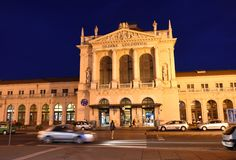 Zagreb, Croatia - August 17, 2017: Zagreb main train station building at night (Zagreb Glavni kolodvor). Zagreb, Croatia - August 17, 2017: Zagreb main train royalty free stock photography