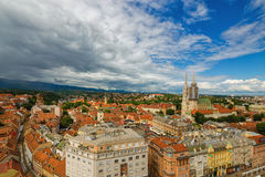 Zagreb. Croatia. Bird`s-eye view of Zagreb, Croatia Royalty Free Stock Photo