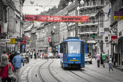 Zagreb, Croatia. Black and white with colored details. Stock Photo